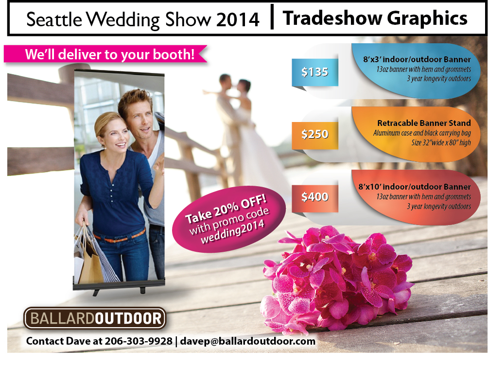 Our Tradeshow pricing includes delivery to your booth.